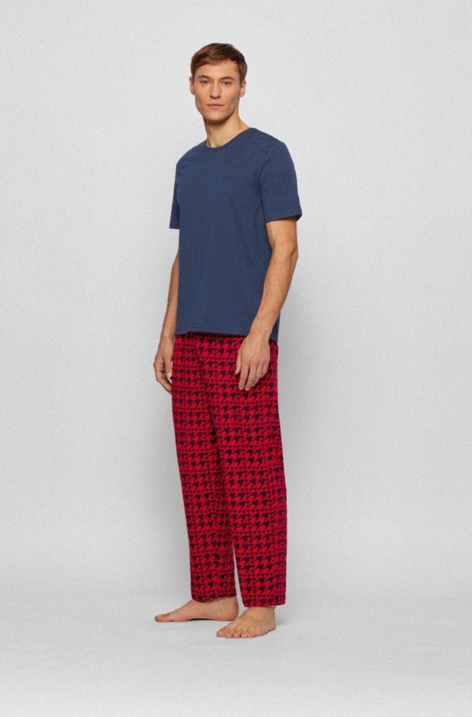 Stretch-cotton jersey pyjama set with logos
