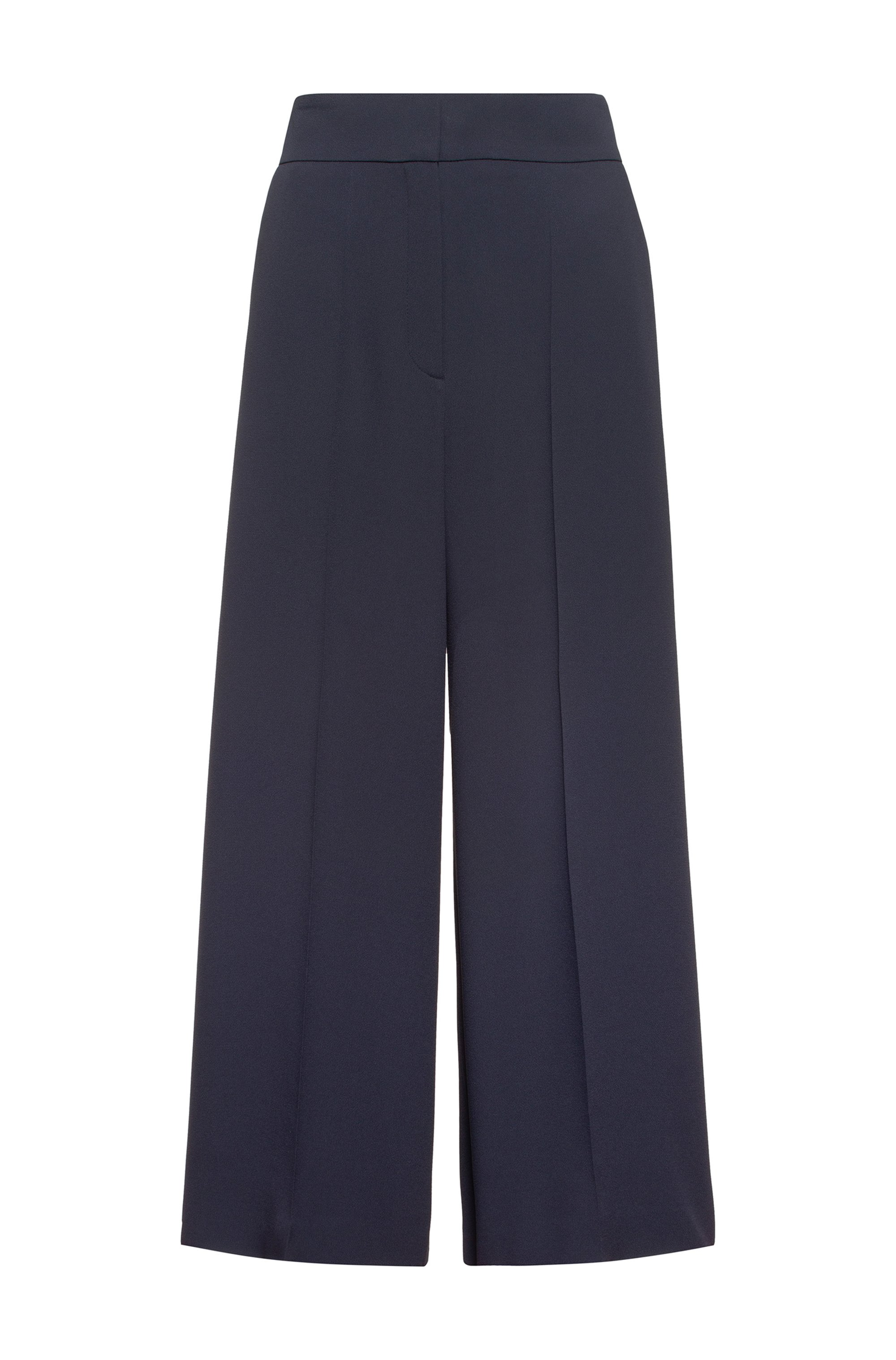 Cropped culottes in crepe fabric with high waist, Dark Blue