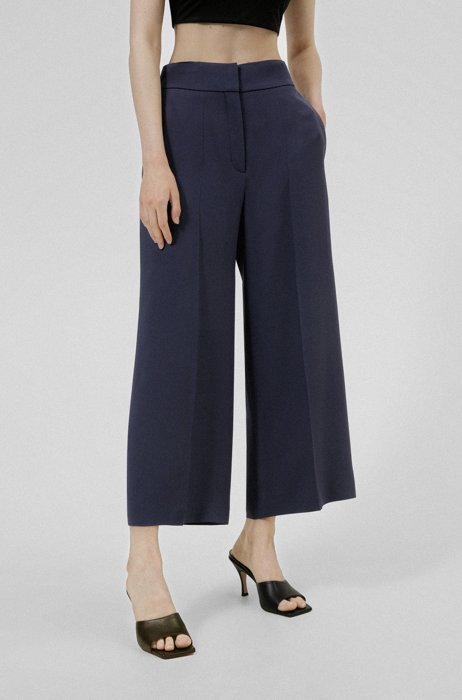 Pantaloni culotte a vita alta alla caviglia in tessuto crêpe, Blu scuro