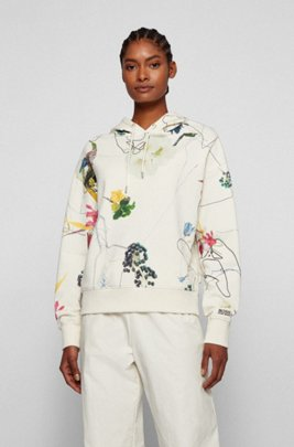 Regular-fit hoodie in French terry with floral print, Patterned
