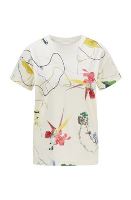 Regular-Fit T-Shirt aus Baumwoll-Jersey mit Blumen-Print, Gemustert