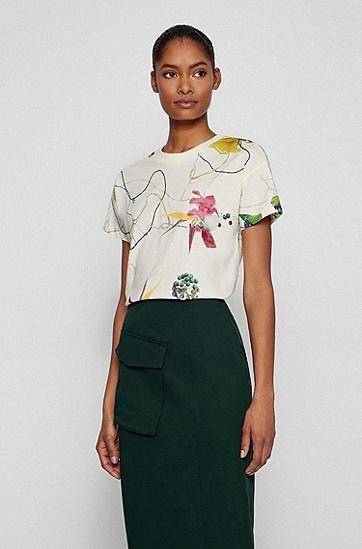 花卉印花常规版棉质平纹针织面料 T 恤,  960_Open Miscellaneous