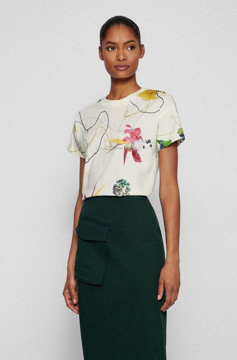 Regular-fit T-shirt van katoenjersey met bloemenprint, Bedrukt