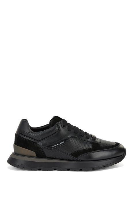 Mixed-material trainers with leather and suede, Black