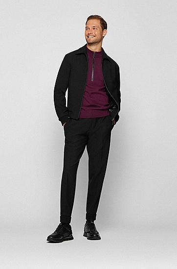 皮革加麂皮混合材质运动鞋,  001_Black