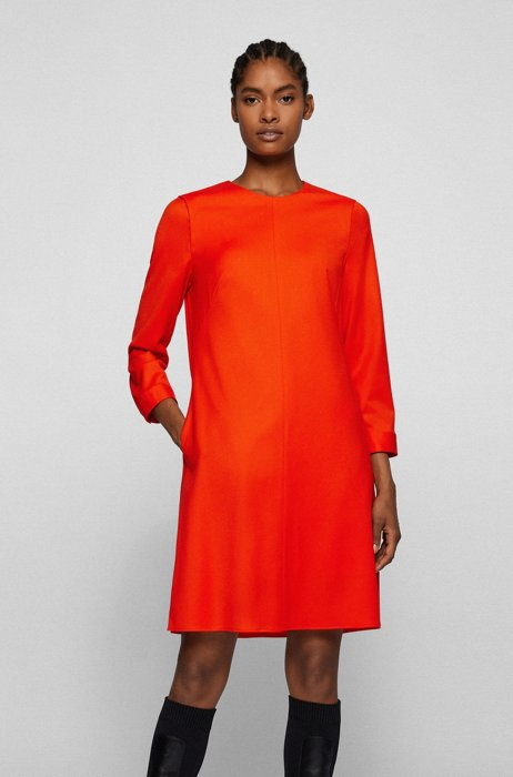 Relaxed-fit dress in stretch wool, Orange