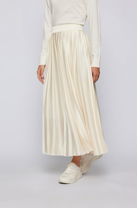 Double-pleated maxi skirt in recycled fabric, White