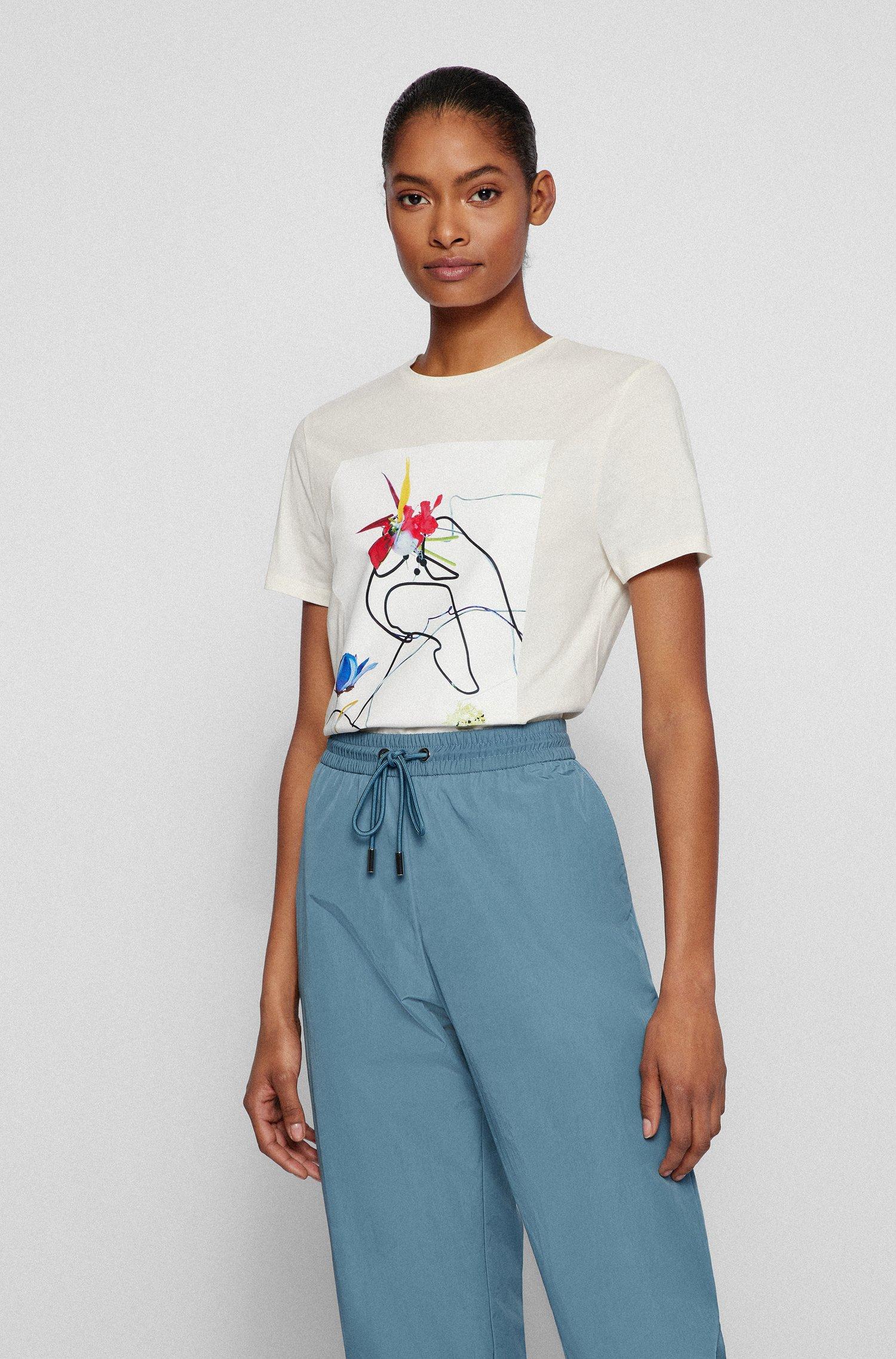 T-Shirt aus Bio-Baumwolle mit floralem Artwork, Weiß