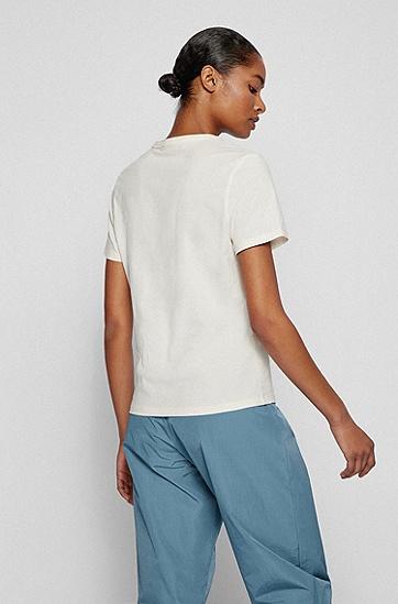 花卉艺术风装饰常规版型棉 T 恤,  118_Open White