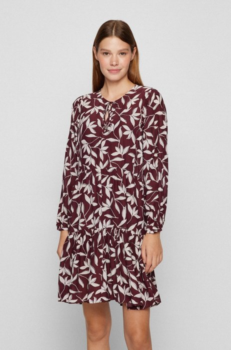 Relaxed-fit tunic dress with collection print, Red Patterned