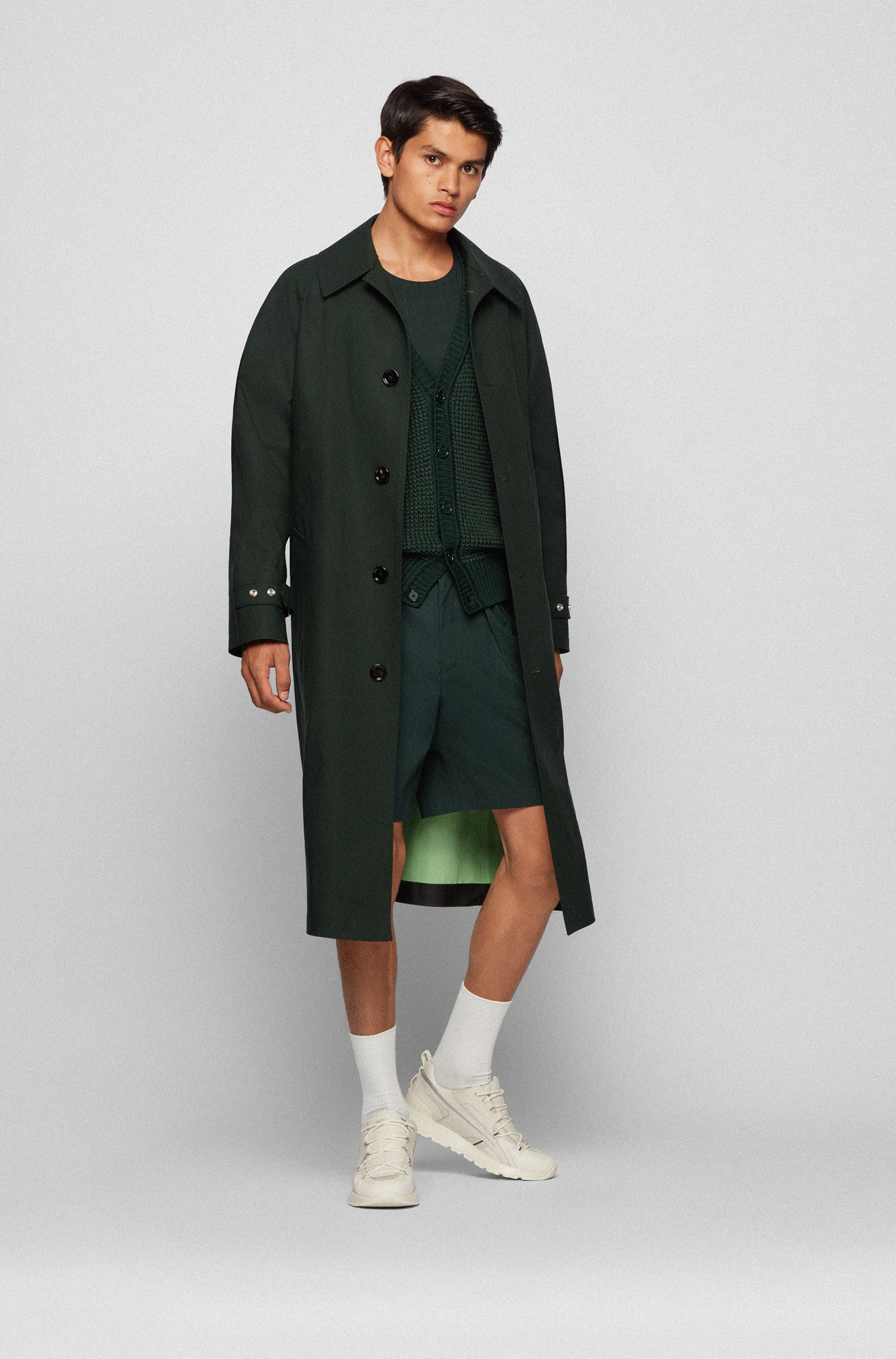 Relaxed-fit coat in bonded cotton