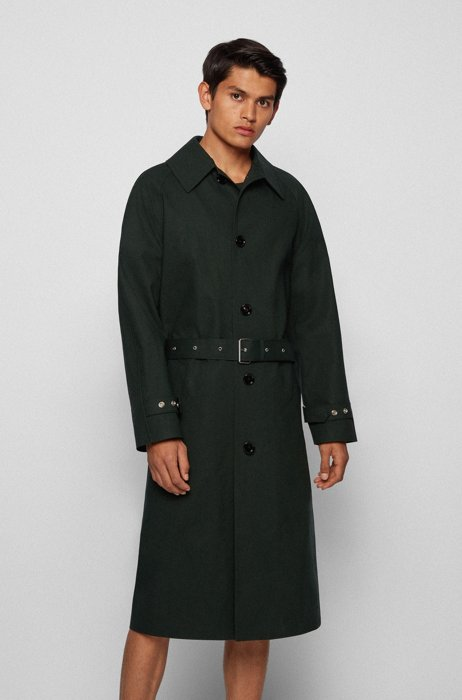Relaxed-fit coat in bonded cotton, Dark Green