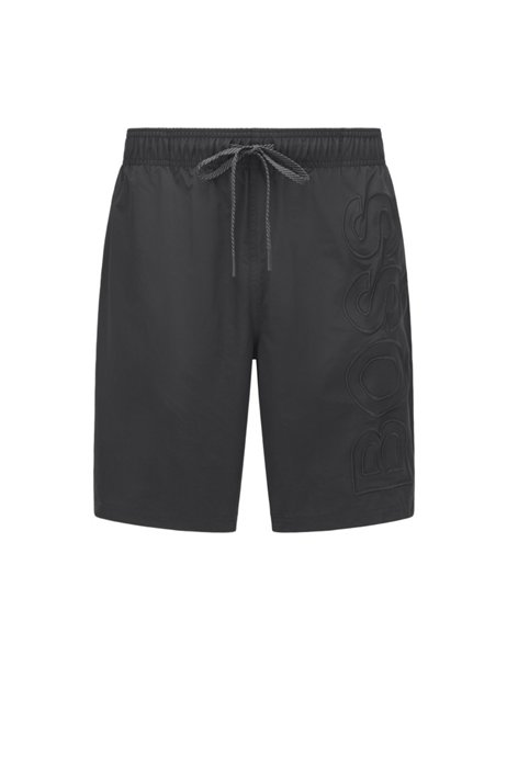 Quick-dry swim shorts in recycled fabric with logo, Black