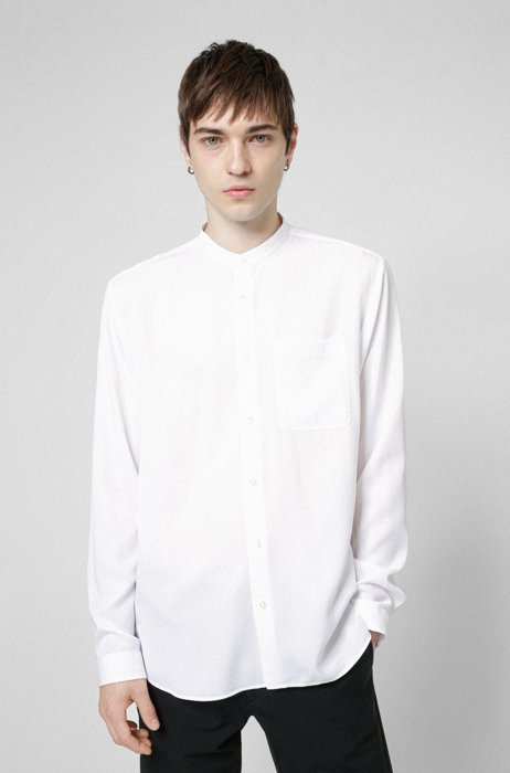Oversized-fit shirt with stand collar, White