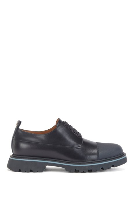 Derby shoes in polished leather with toe-cap trim, Dark Blue