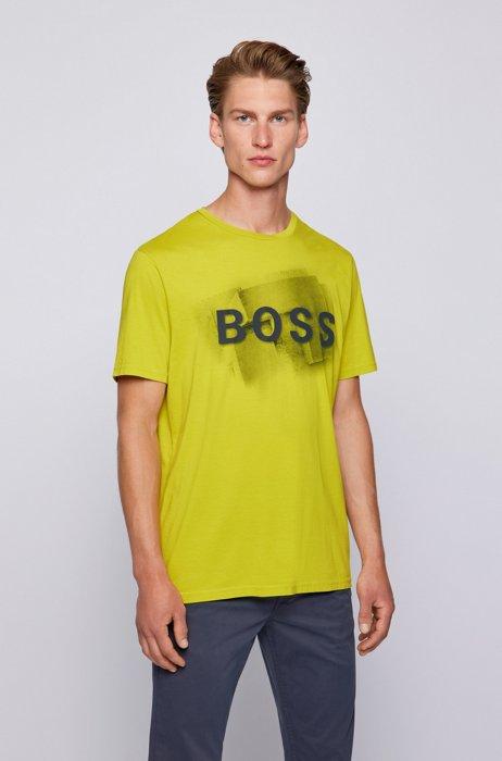Mixed-print logo T-shirt in washed Pima cotton, Yellow