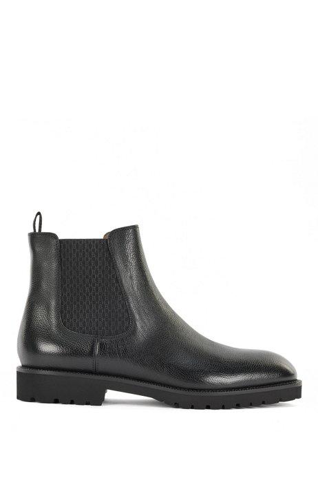 Monogram-panel Chelsea boots in Italian leather, Black