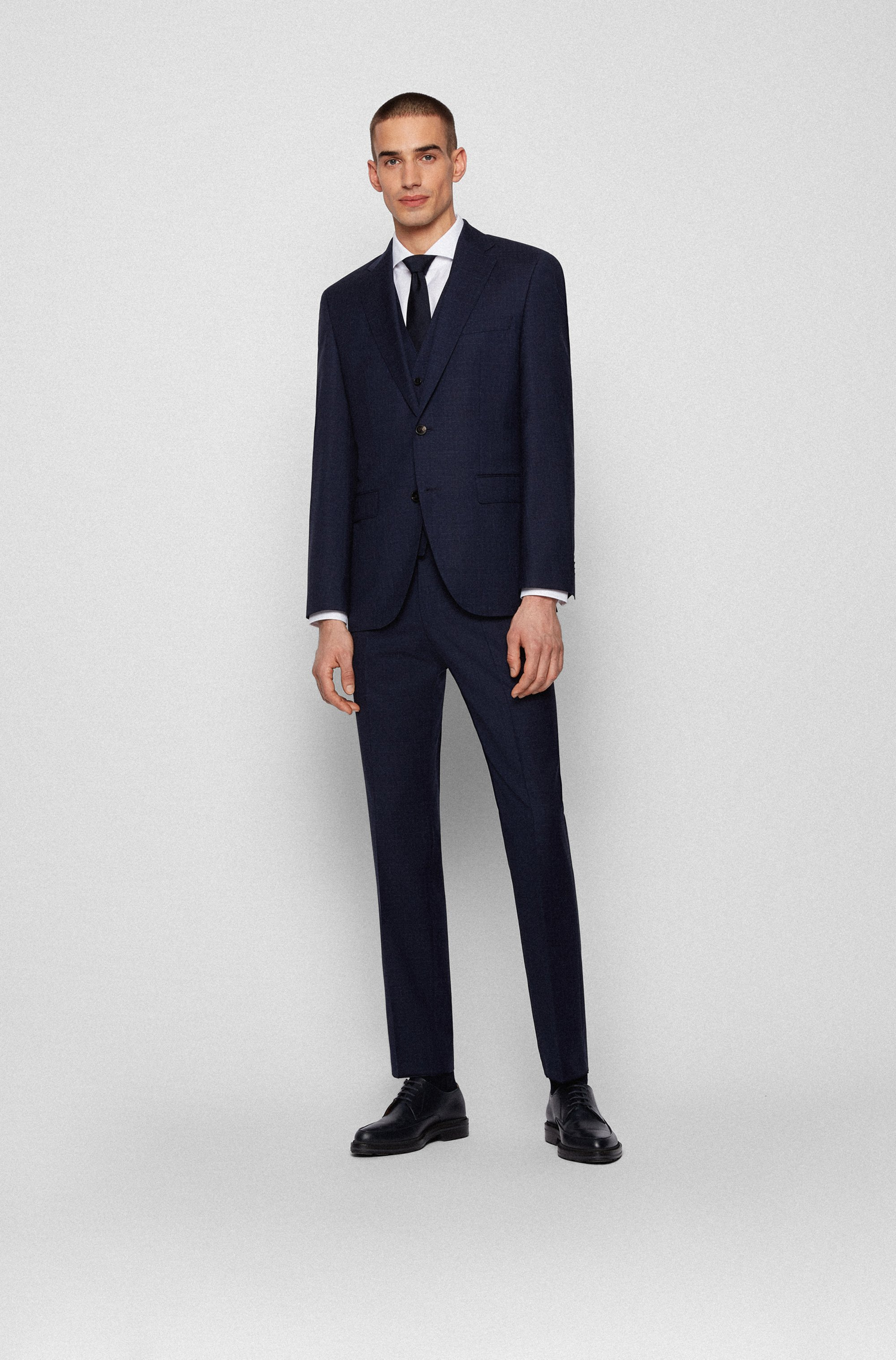 Three-piece regular-fit suit in patterned virgin wool