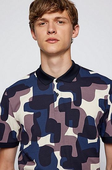 迷彩印花棉质珠地布 Polo 衫,  404_Dark Blue