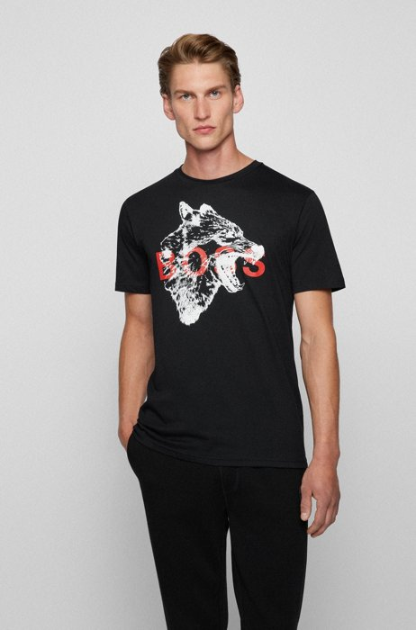 Regular-fit T-shirt in cotton with animal artwork, Black