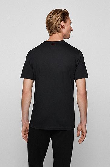 动物艺术图案常规版型棉质 T 恤,  001_Black