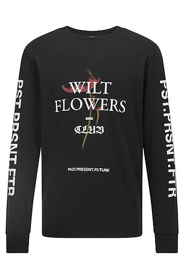 图案标语装饰宽松棉 T 恤,  001_Black