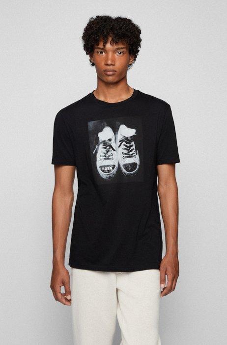 Pima-cotton T-shirt with water-based artwork print, Black