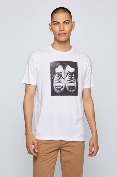 Pima-cotton T-shirt with water-based artwork print, White