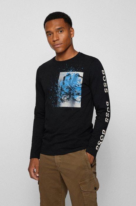 Katoenen T-shirt met lange mouwen, artwork en logo's, Zwart