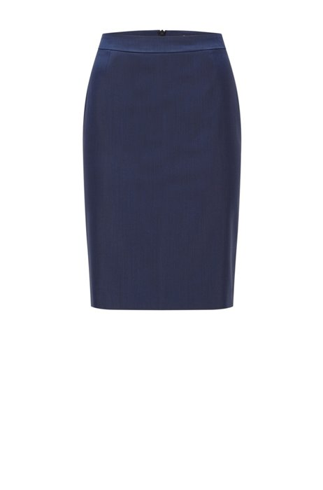 Regular-fit pencil skirt in responsible virgin wool, Dark Blue