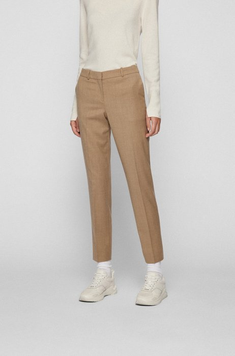 Melange regular-fit trousers in traceable wool with stretch, Light Brown