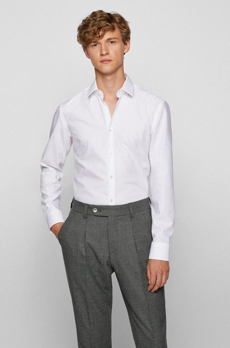 Slim-fit shirt in Oxford cotton with antibacterial finishing, White