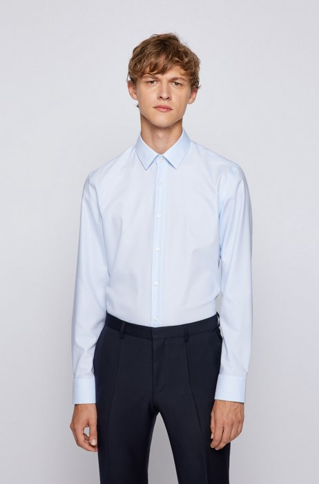 Slim-fit shirt in Oxford cotton with antibacterial finishing, Light Blue