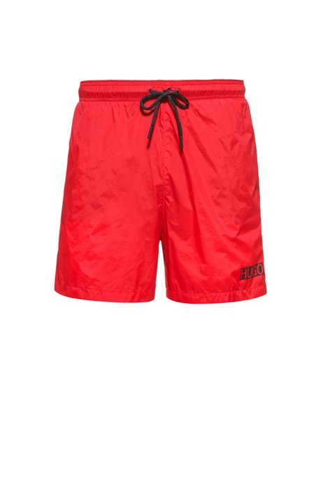 Quick-dry swim shorts in recycled fabric with logo, light pink
