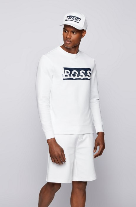 Slim-fit sweatshirt with carbon-effect printed logo, White