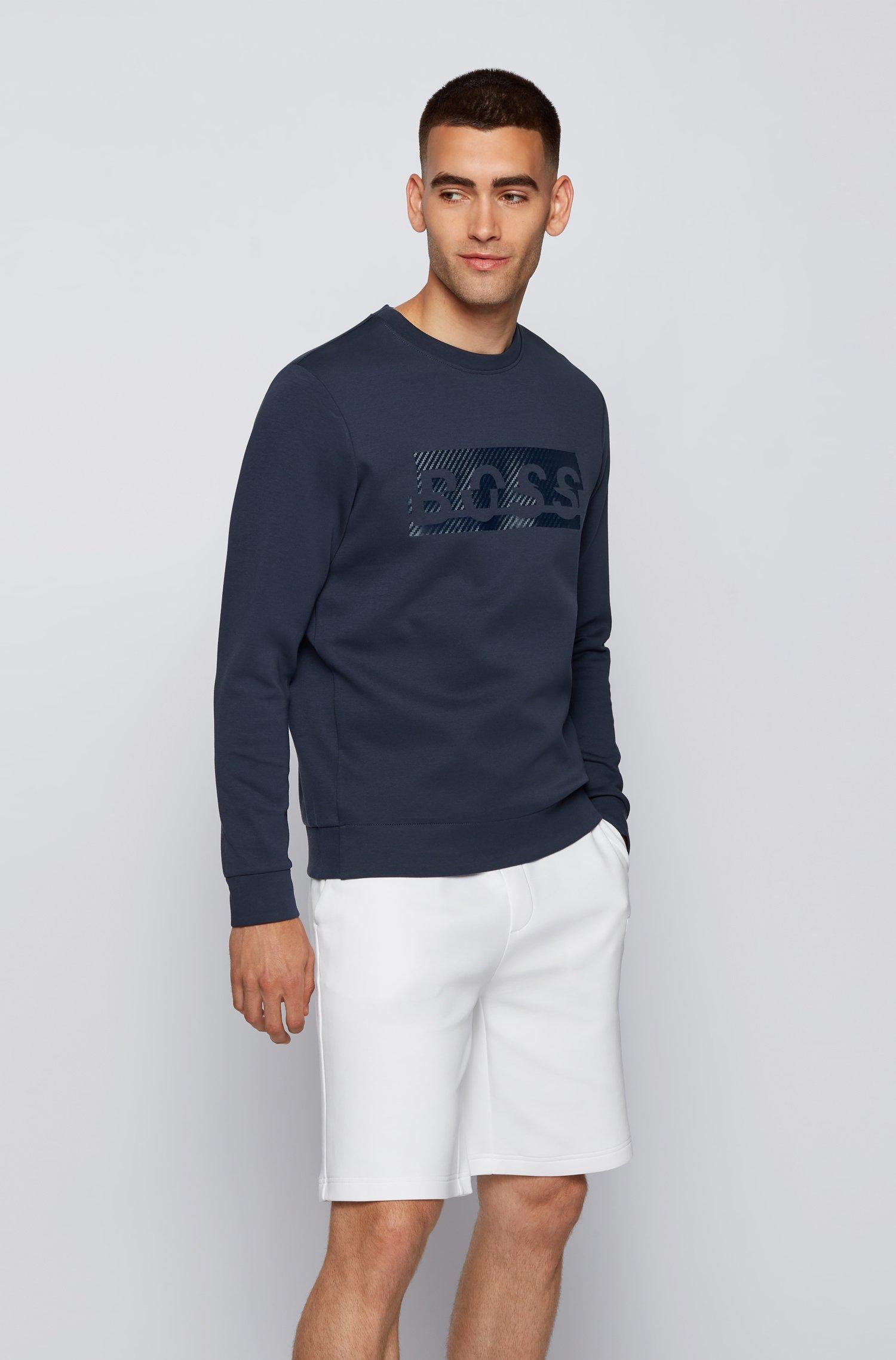 Slim-fit sweatshirt with carbon-effect printed logo, Dark Blue