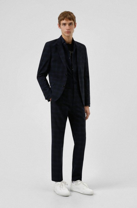 Extra-slim-fit washable suit in checked performance-stretch fabric, Dark Blue