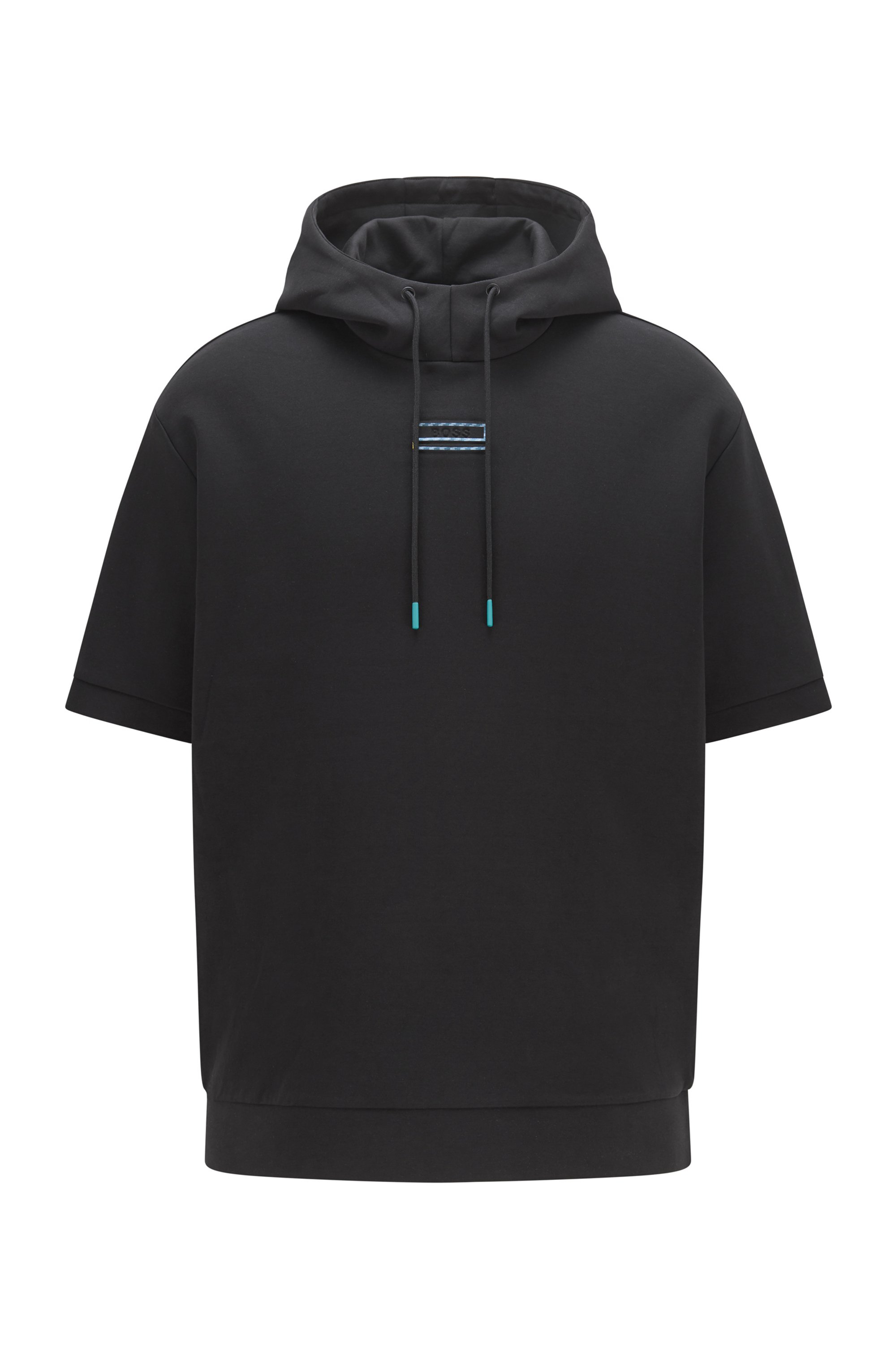 Short-sleeved hooded sweatshirt with carbon-effect logo detail, Black