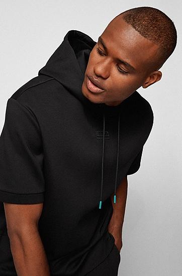 炭黑色徽标细节装饰短袖连帽运动衫,  001_Black