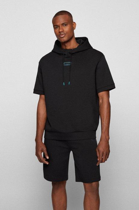 Sweat à capuche à manches courtes avec logo effet carbone, Noir