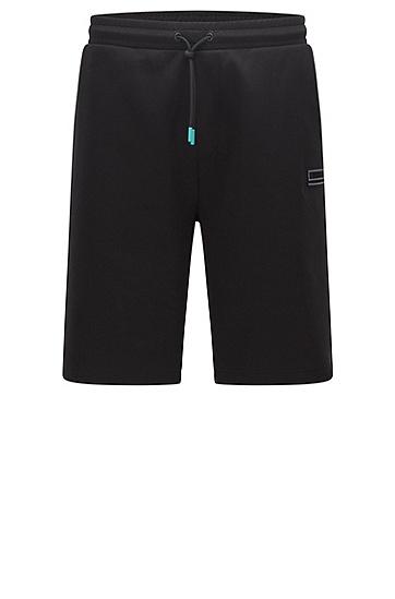 刺绣徽标宽松短裤,  001_Black