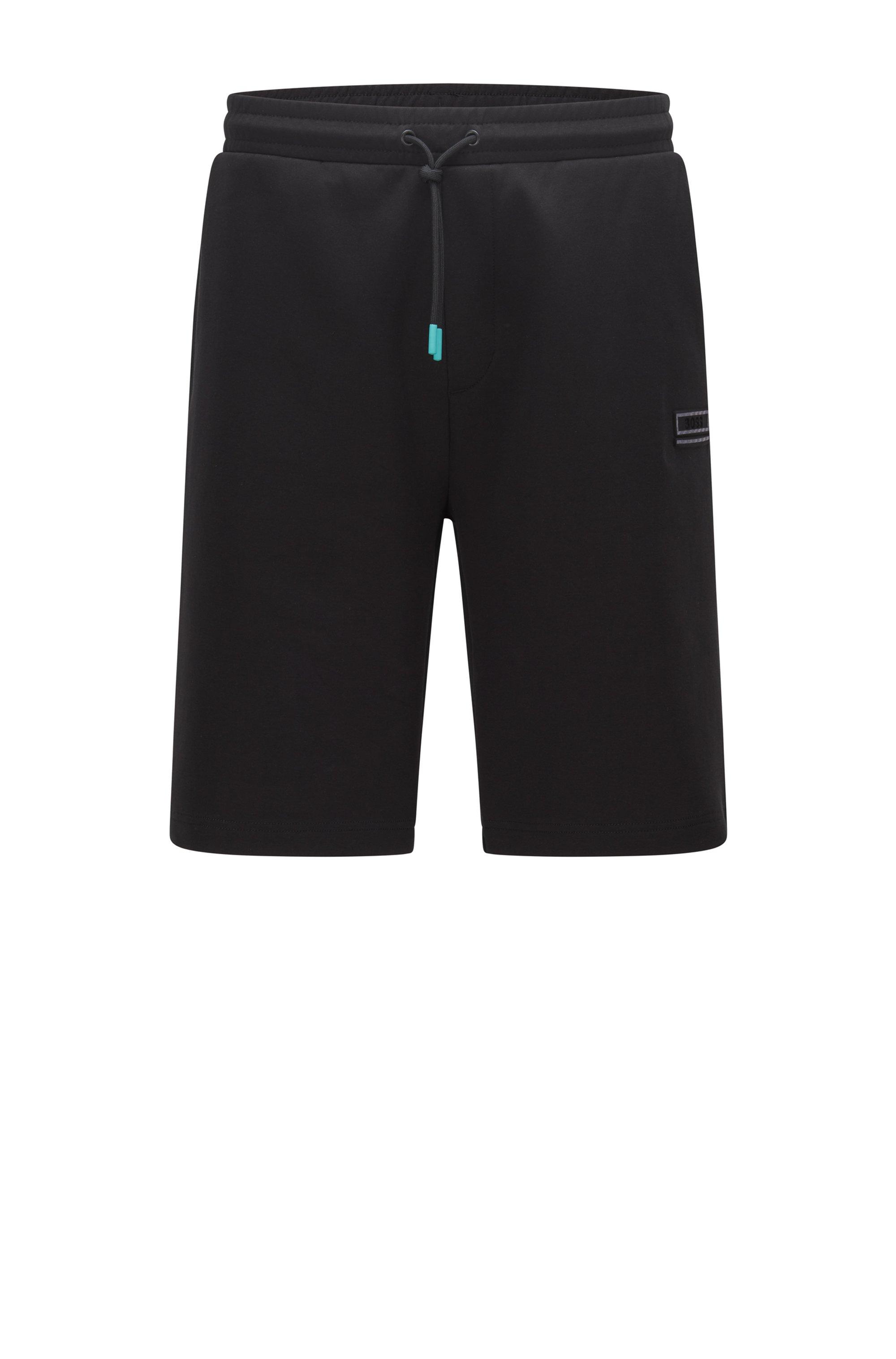 Short Relaxed Fit avec logo brodé, Noir