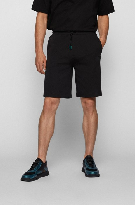 Relaxed-fit shorts with embroidered logo, Black