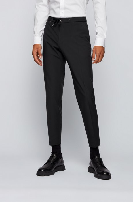 Slim-fit trousers in performance-stretch fabric, Black