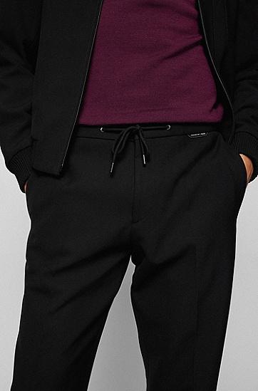 针织裤脚弹力修身长裤,  001_Black
