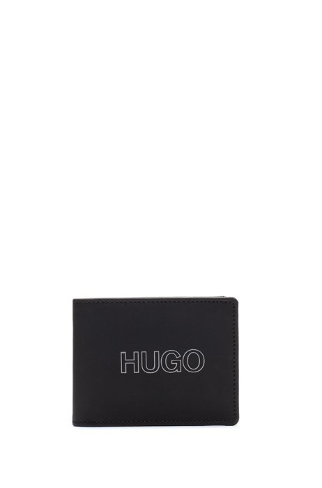 Billfold wallet in grained leather with outline logo, Black