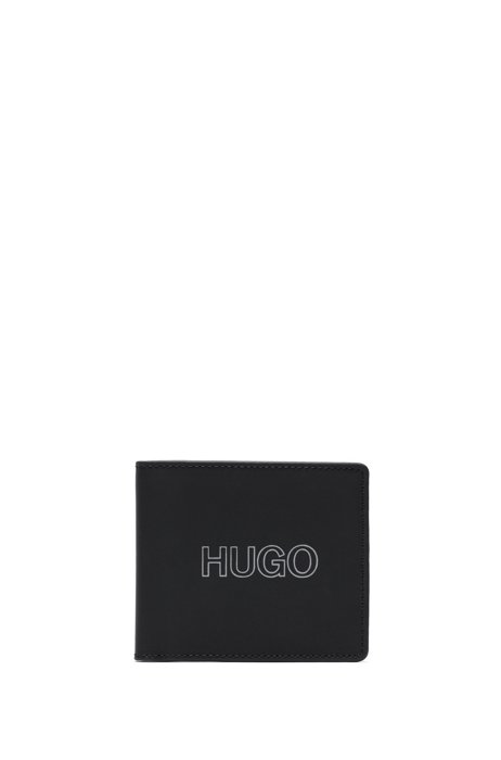 Rubberised-leather wallet with outline logo, Black