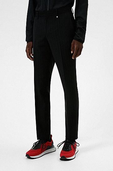 条纹羊毛混纺修身长裤,  006_Black