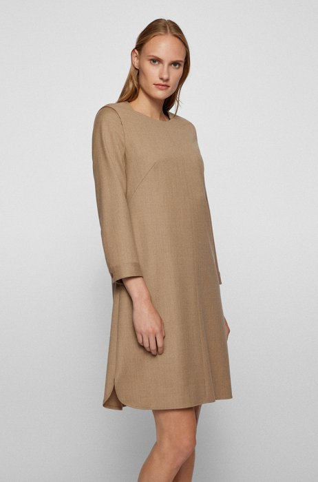 Stretch-wool business dress in a relaxed fit, Light Brown