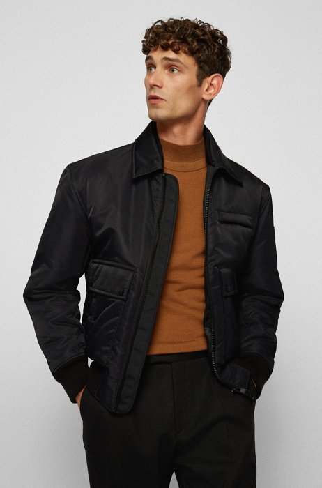 Regular-fit blouson jacket in satin with contrast lining, Black